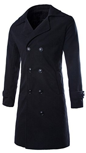 Unko Mens Double Breasted Wool Blend Full Long Trench Coat Overcoat Black XL