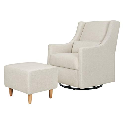 Babyletto Toco Upholstered Swivel Glider and Stationary Ottoman, White Linen (Chairs Buy To Glider Where)