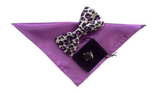 bf93d3b365ca Mens Bow Tie Handkerchief and cuff links set Purple Leopard print No10:  Amazon.co.uk: Clothing