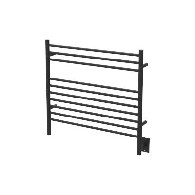QBC Bundled Amba Heated Towel Warmers - Jeeves - KSMB Model K Straight - Matte Black Finish 29.5 in W x 27 in H - 150 to 175 Watts 1.35 to 1.6 Amps - Plus Free QBC Towel Warmer Guide