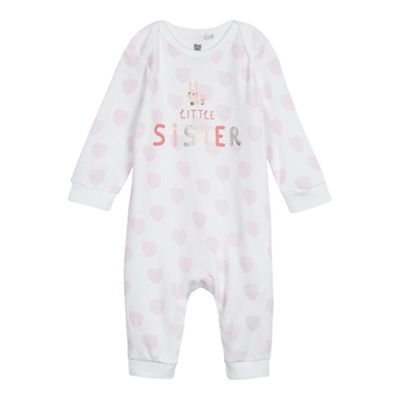 bluezoo Kids Baby Girls' White and Pink 'Little Sister' Print Sleepsuit