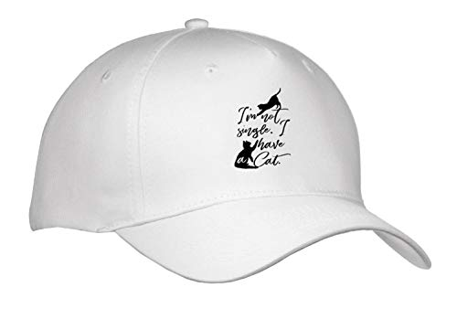 Becky Nimoy Stationery – Animals - Two Cats Playing Hand-Lettered Style Words, Im not Single, I Have Cats - Caps - Adult Baseball Cap (Cap_289193_1)
