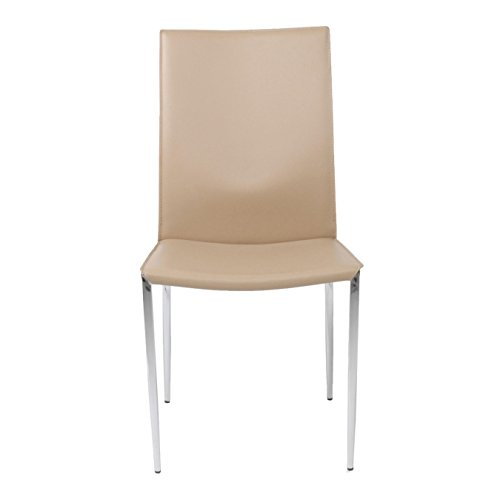 Euro Style Max Leather Side Dining Chair with Chromed Steel Base, Set of 2, Tan - Euro Style Contemporary Chair
