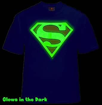 Superman Glow in the Dark Shield T-Shirt (Blue) #40 (Mens Large)