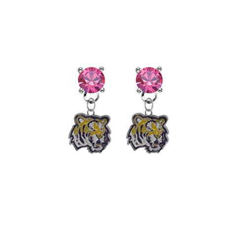 LSU Tigers Pink Crystal Stud Post Dangle ()