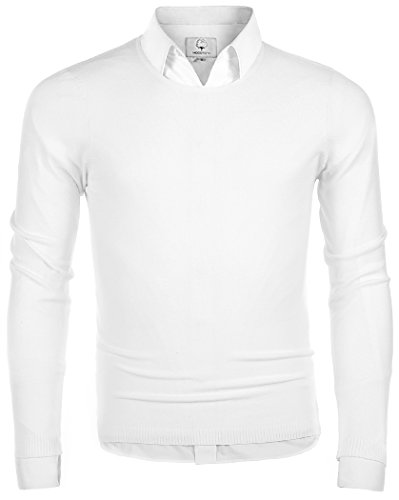 (MOCOTONO Men's Long Sleeve Crew Neck Pullover Knit Sweater White Medium)