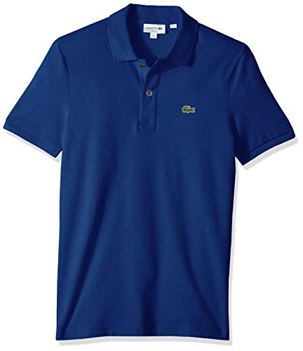 Lacoste Men's Petit Piqué Slim Fit Polo Shirt, Captain Blue, - Pique Polo Mens Plain
