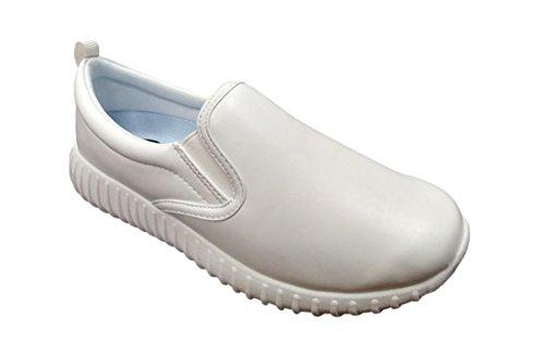 (Savvy Women's Florence White Slip Resistant Nursing\ Work Wear Slip On Clog Size: 9.5, Width: Medium)