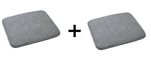 Norpro 16 by 18-Inch Microfiber Dish Drying Mat, Gray (16 by 18-inch (pack Of 2), (Dish Drying Mats)