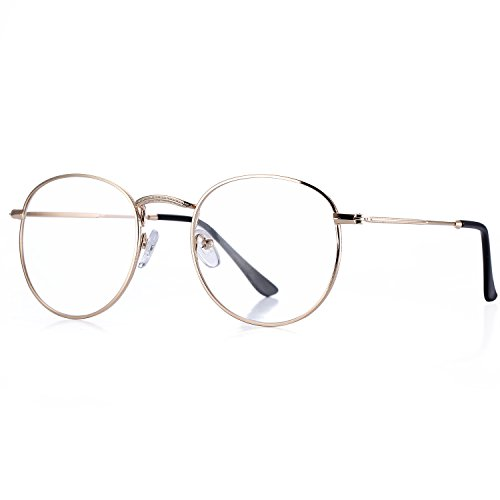 Pro Acme Classic Round Metal Clear Lens Glasses Frame Unisex Circle Eyeglasses - Vintage Glasses Clear