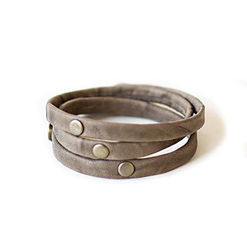 Hand Crafted Light Grey Leather Adjustable Triple Warrior Wrap Giving Bracelet ()
