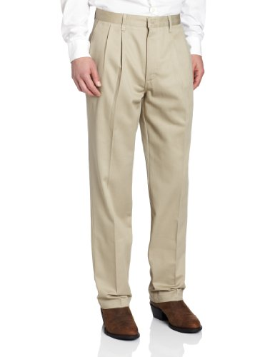Mens Relaxed Fit Casual Pant - Wrangler Men's Riata Pleated Relaxed Fit Casual Pant, Khaki, 29x36