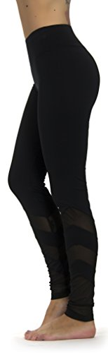 - Prolific Health Yoga Leggings Pants Fitness Mesh Insert Panel Active Flex Activewear (Large, PH Black Type2)
