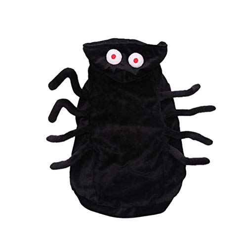 POPETPOP Pet Spider Costume Funny Dog Halloween Costume Cosplay Outfits Clothes Hoodie Coats Apparel for Puppy Dog Large Dog Cat Size M (Black) -