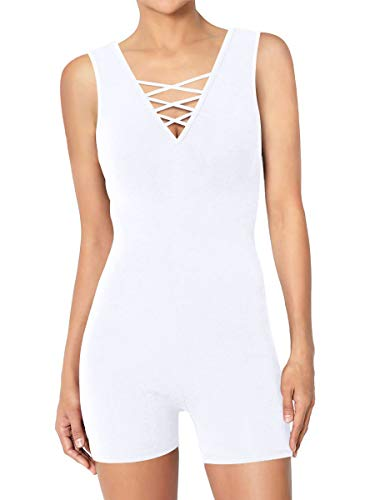 Alaroo Women's Shaping Body Fit Short Bodysuit Jumpsuit White M