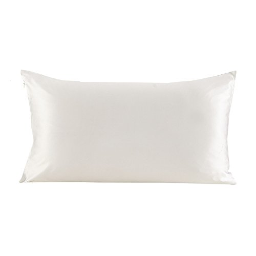 Lilysilk Silk Pillowcase for Hair 100 Pure Mulberry Silk with Zippered Closure Ivory 1pc Standard/Queen 20x30 Inch 19 Momme charmeuse Double-side Silk Fabric Gift Box