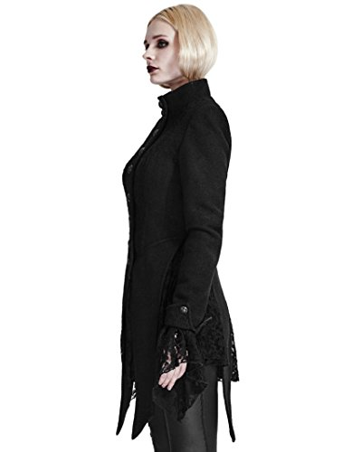 Y-682 Gothic Women's Asymmetrical Woolen Lace Stitching Standing Collar Jacket (XX-Large)