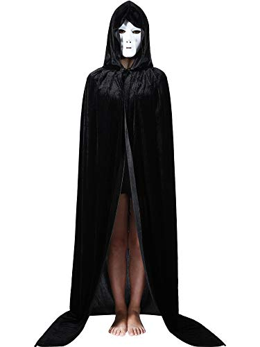 BOAO 72 Inch Velvet Hooded Cloak Cape Black and Full Face Mask Halloween Costume -