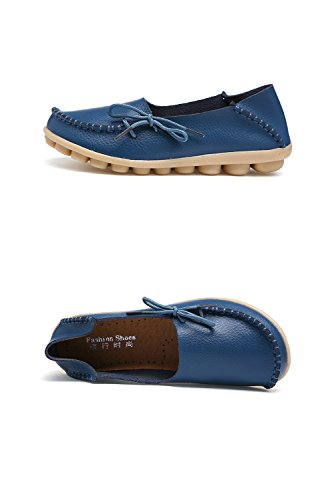 Slip Wild Flat Shoes Loafers Slippers on Leather Indoor Breathable nbsp;Moccasins RT Women's Casual 1blue Group CqwXP0z