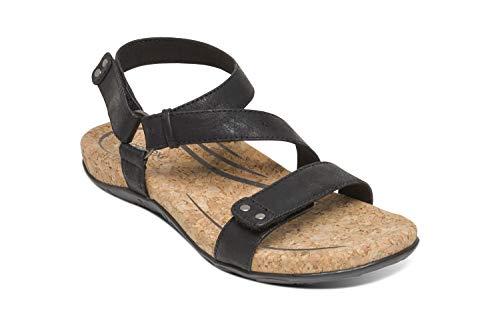 Aetrex Womens Mackenzie Quarter Strap Orthotic Sandals - Black - 39 (US - Aetrex Footwear