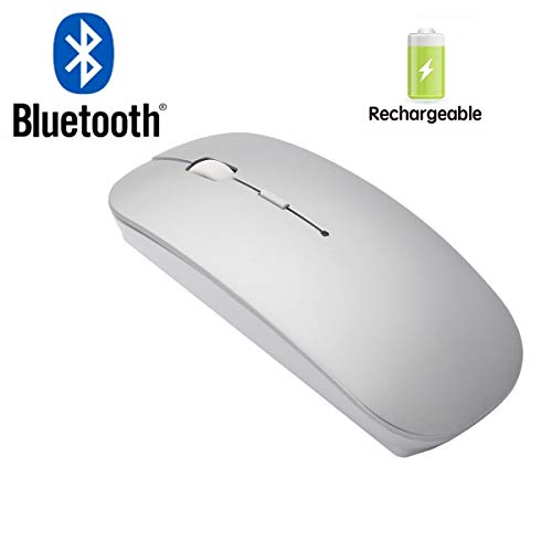 Bianco Slim Rechargeable Bluetooth Wireless Mouse for PC Computer Notebook Computer Android Tablet Vomputer Intelligent Equipment (Silver)