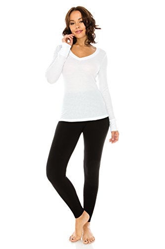 The Classic Woman's Basic Kint V-Neck Loose Fit Long Sleeve Thermal T Shirt Top in White - - White Hottest Women