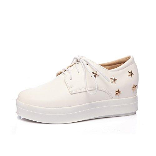 BalaMasa Womens Bandage Grommets Platform Urethane Flats Shoes White Vdx77xewyy
