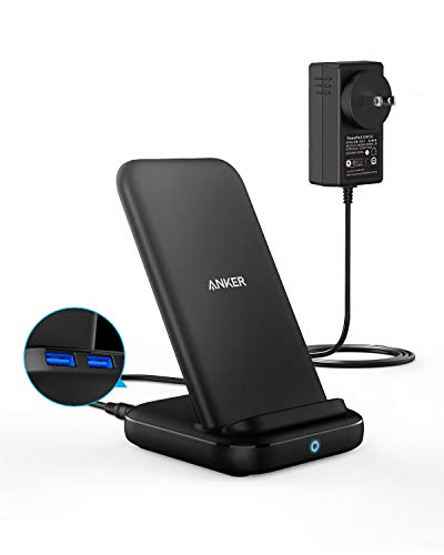 Anker 3-in-1 Multi-Device Wireless Charging Station, PowerWave 10 Stand with 2 USB-A Ports, for iPhone SE, 11, 11 Pro, XS Max, XR, XS, X, 8, 8 Plus, Galaxy S20, S10, S9, S8, 36W Power Supply Included