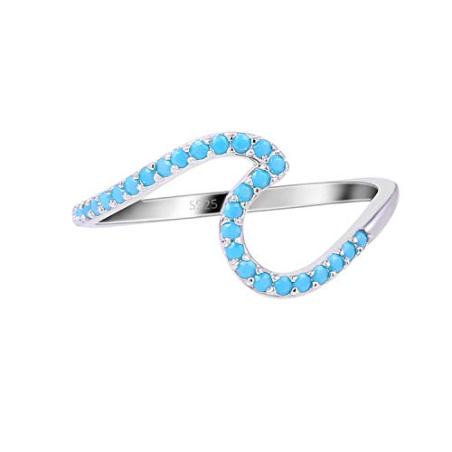 Lancharmed S925 Sterling Silver Ocean Wave Rings Blue Cubic Zirconia Rhodium Plated Trendy Jewelry Size 7 for Women Girls Teens
