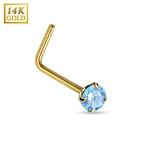 {Aqua} 14Kt Gold 2mm Prong Round CZ L Bend Nose Ring - 20GA (Sold (Mens Ring 14kt Gold Jewelry)