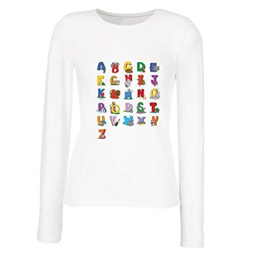 lepni.me Women's T-Shirt The Alphabet, ABC Song Design, Learning Letters, Back to School or Graduation Gifts (X-Large White Multi Color) (Meme From Love And Hip Hop New Boyfriend)