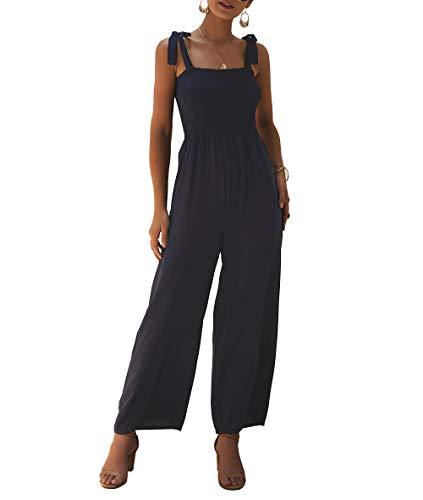 KIRUNDO Womens 2019 Summer Adjustable Spaghetti Strap Jumpsuits Sleeveless Solid Color Long Wide Leg Overalls