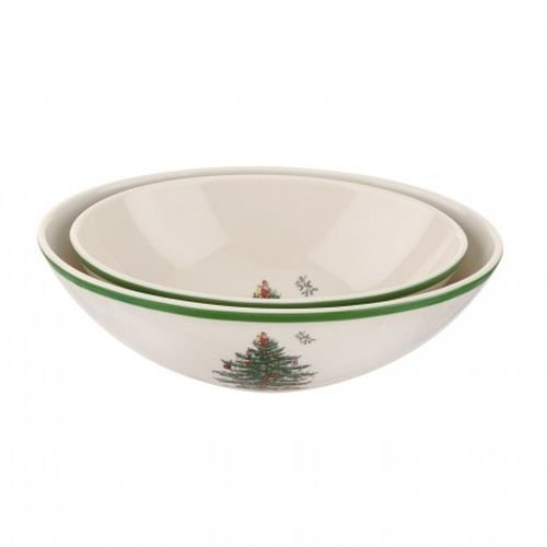 Spode Christmas Tree Oval Nesting Bowls, Set of 2