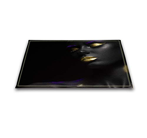 LB African Print Rug,Custom Sexy Black Woman with Gold Lips African Decor, 3D Digital Printing 16 x 24 Inches African American Floor Mat Non-Slip Bath Mat ()