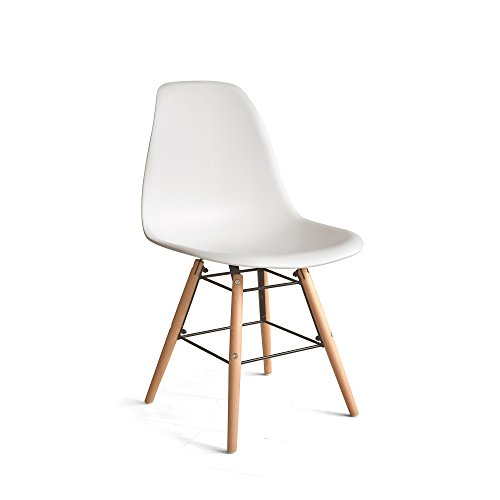 (Italian Concept, Chair Legs in Black Lacquered Wood Metal Structure Connector. SEAT BACKREST in Polypropylene, White,)