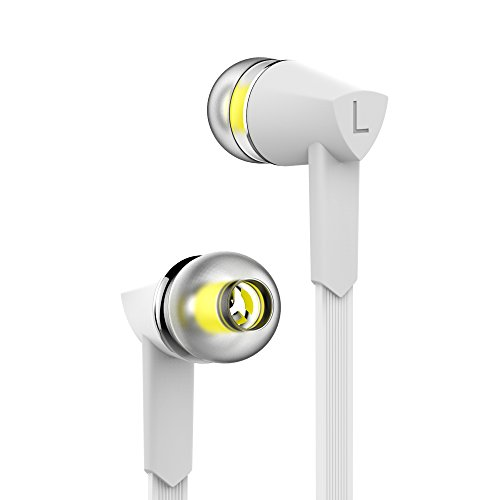 Earphones Wired Headphones In Line Volume Control Crystal Sound Earbuds with Mic White