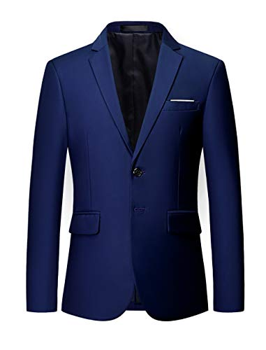 MOGU Mens Suit Jacket Slim Fit Single Breasted Two Button 10 Colors US 44 Asian 6XL Navy