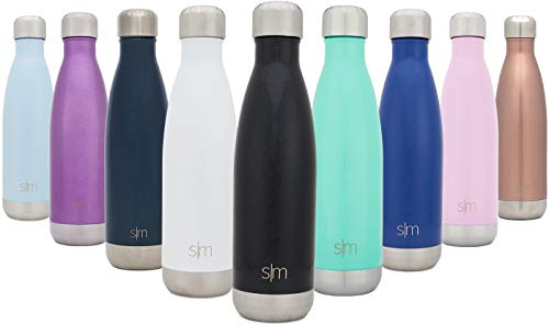 Simple Modern 34 oz Wave Water Bottle - Stainless Steel Hydro Swell Flask - Wide Mouth Metal Double Wall Vacuum Insulated Black Reusable 1 Liter Cold Leak Proof - Midnight Black