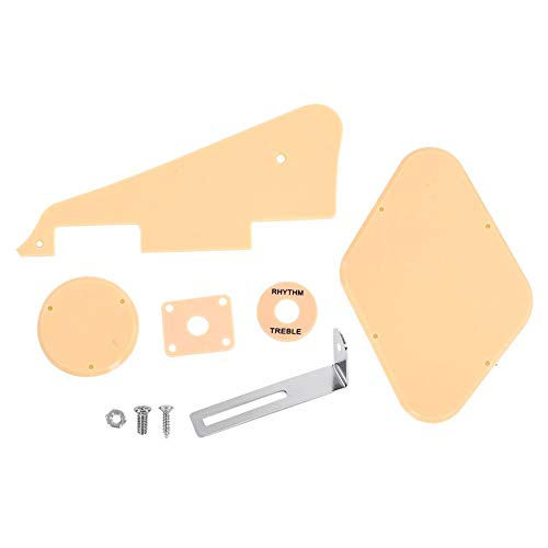 (Guitar Pickguard Set, RiToEasysports Plates Set Pickguard Switch Ring Cavity Cover Jack Scratch Back Plate for LP Jazz Guitar Without Screws(Cream))