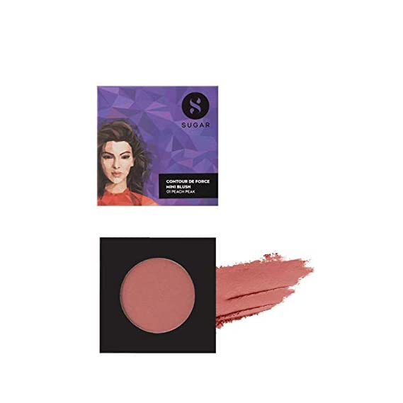 SUGAR Cosmetics Contour De Force Mini Blush - 01 Peach Peak (Soft Peach Pink)  Light Weight   Blendable & Long Lasting