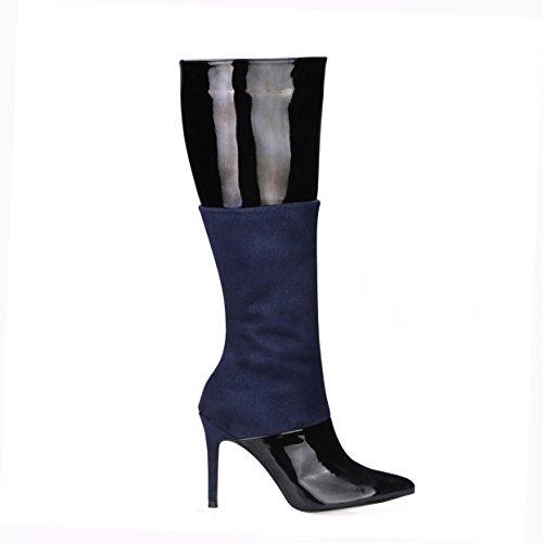 Best 4U® Stivali alti da donna in vernice Velluto elastico 9.7CM Tacchi alti Tacco a spillo in gomma punta rotonda Cerniera Autunno Inverno Scarpe nere