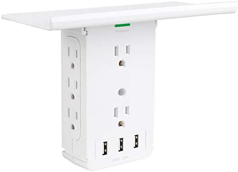 Power Charger Shelf-CFMASTER 11 Port Surge Protector Wall Outlet, 8 Electrical Outlet Extenders and three USB Ports 3.4A, with Removable Built-In Shelf and LED Indicator, FCC Listed, White