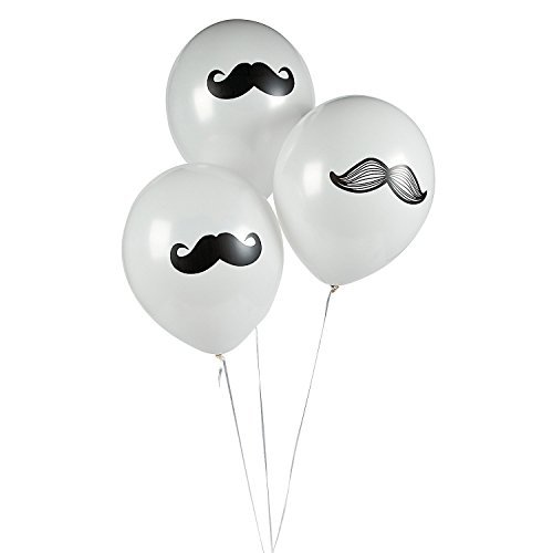 Fun Express Mustache Latex Balloons Party Favors - 12 Pieces ()