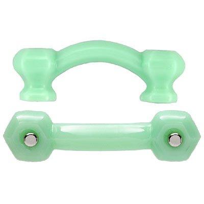 (K-58G HEXAGONAL MILK GREEN JADITE GLASS BRIDGE DRAWER PULL HANDLE ANTIQUE REPRODUCTION + FREE BONUS (SKELETON KEY BADGE) (6))