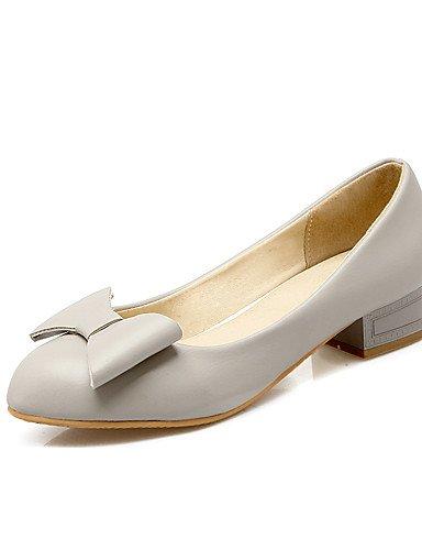GGX/ Damen-High Heels-Büro / Lässig-PU-Blockabsatz-Komfort / Rundeschuh-Rosa / Grau / Mandelfarben gray-us6.5-7 / eu37 / uk4.5-5 / cn37