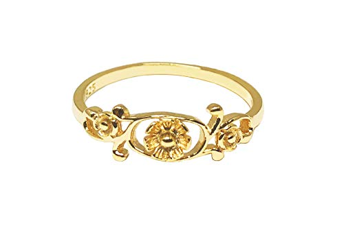 Filigree Bouquet - CloseoutWarehouse Yellow Gold-Tone Plated Sterling Silver Antique Filigree Flower Ring Size 6