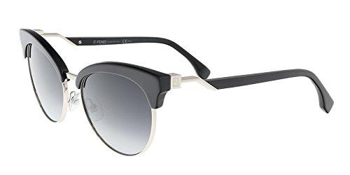 Fendi Metal Browline Sunglasses 55 0807 Black dark gray gradient lens (Sonnenbrillen Online Shop)
