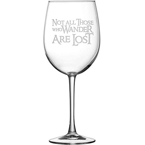 Glass Etched Ring (Premium Lord of the Rings Wine Glass with Stem, Not All Those Who Wander Are Lost, Hand Etched 15.4 oz Tulip Gift Glasses, Made in USA, Sand Carved by Integrity Bottles)