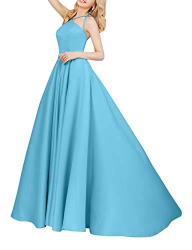 Partykleider Linie Braut Rock Satin A mia Abschlussballkleider 2018 Einfach Abendkleider Lang Elegant La Blau Ballkleider ZqpzwxR5B