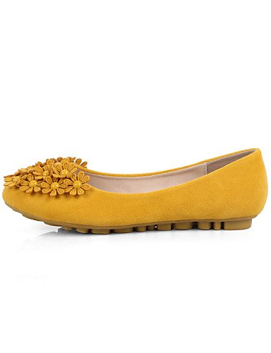 Pdx morado rosa Uk6 cerrado de Yellow Talón Mocasín azul Zapatos Plano Casual 5 Tipo us8 Eu39 5 Flats amarillo Redonda Mujer Ante Negro De Toe Cn40 punta pprqHw